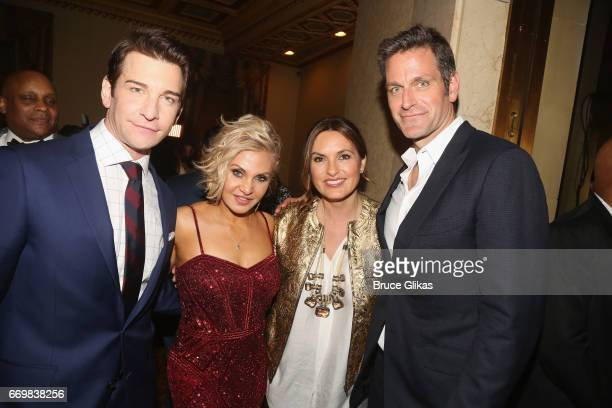 Andy Karl wife Orfeh Mariska Hargitay and husband Peter Hermann pose at the opening night after party for the musical based on the film Groundhog Day...