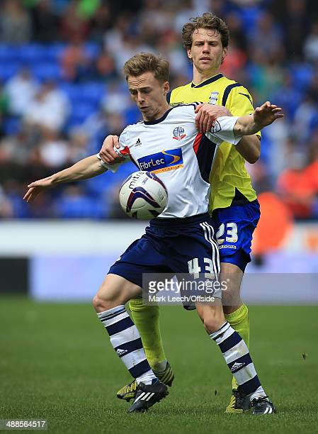 Andy Kellett of Bolton battles with Jonathan Spector of Birmingham during the Sky Bet Championship match between Bolton Wanderers and Birmingham City...