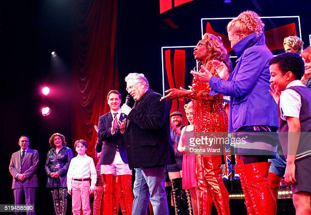 Andy Kelso Devin Trey Campbell Harvey Fierstein Alan Mingo Jr Jeanna De Waal and the Company appear during curtain call as Kinky Boots Celebrates 3...