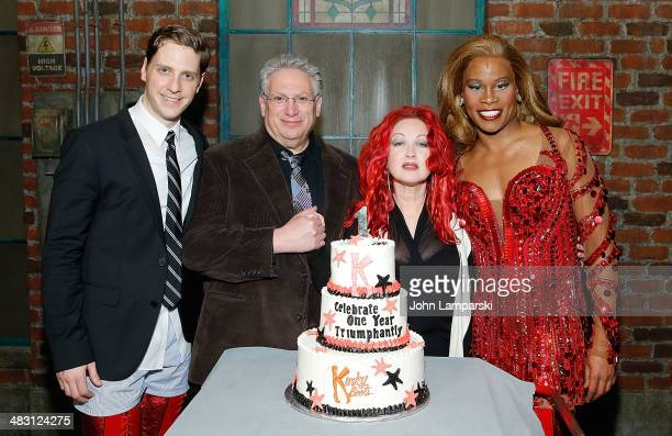Andy Kelso Harvey Fierstein Cyndi Lauper and Billy Porter attend 'Kinky Boots' one year anniversary on Broadway at The Hirshfeld Theatre on April 6...