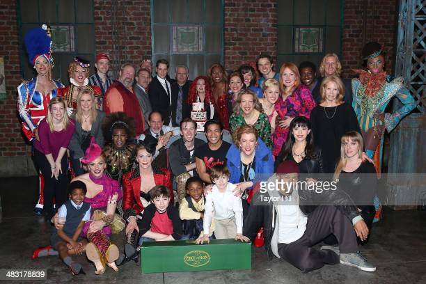Andy Kelso Harvey Fierstein Cyndi Lauper Billy Porter and cast attend the 'Kinky Boots' one year anniversary on Broadway at The Hirshfeld Theatre on...