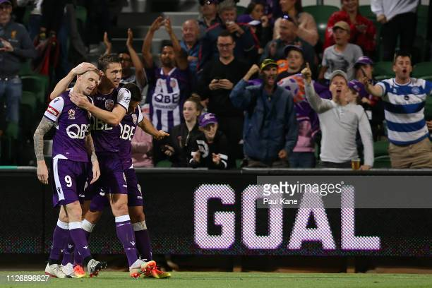 Andy Keogh and Dino Djulbic of the Glory celebrate a goal during the round 17 ALeague match between the Perth Glory and the Wellington Phoenix at HBF...