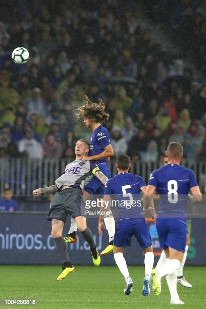 Andy Keogh of the Glory and Ethan Ampadu of Chelsea contest a header during the international friendly between Chelsea FC and Perth Glory at Optus...