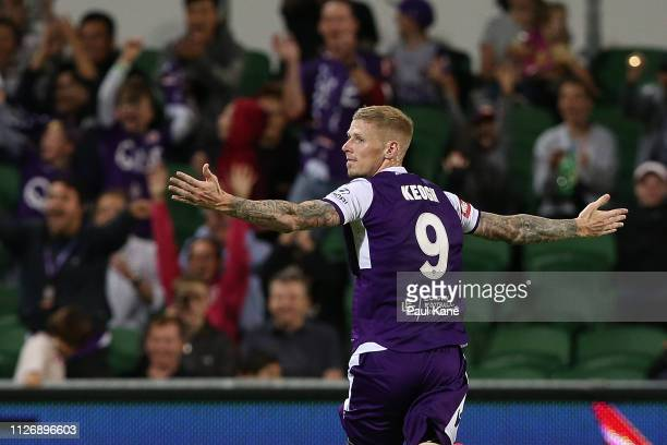 Andy Keogh of the Glory celebrates a goal during the round 17 ALeague match between the Perth Glory and the Wellington Phoenix at HBF Park on...
