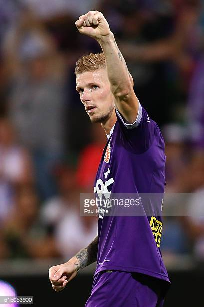 Andy Keogh of the Glory celebrates after a goal from a penalty kick during the round 23 ALeague match between the Perth Glory and the Central Coast...