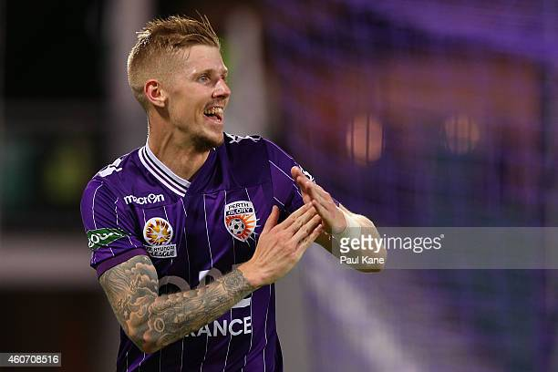 Andy Keogh of the Glory celebrates after scoring a goal during the round 12 ALeague match between Perth Glory and Central Coast Mariners at nib...