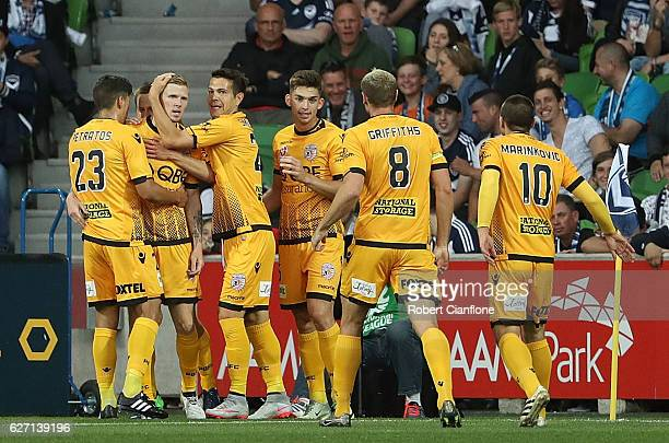 Andy Keogh of the Glory celebrates after scoring a goal during the round nine ALeague match between Melbourne Victory and Perth Glory at AAMI Park on...
