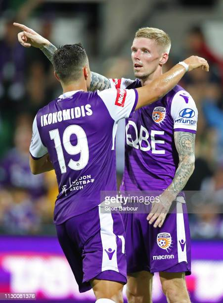 Andy Keogh of the Glory celebrates after scoring their second goal during the round 19 ALeague match between the Perth Glory and the Brisbane Roar at...
