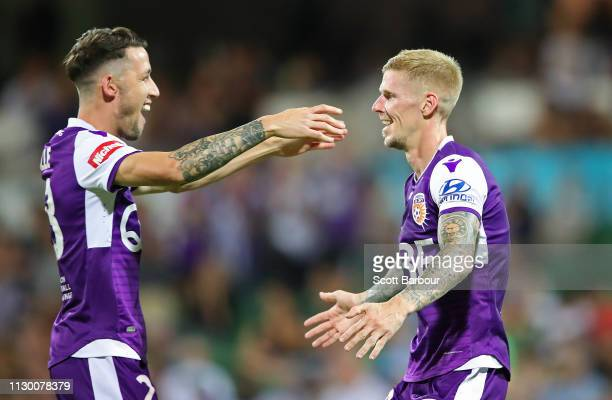 Andy Keogh of the Glory celebrates with Scott Neville after scoring their second goal during the round 19 ALeague match between the Perth Glory and...