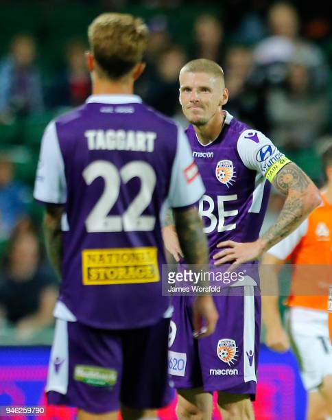 Andy Keogh of the Perth Glory looks at his team mate during the round 27 ALeague match between the Perth Glory and the Brisbane Roar at nib Stadium...