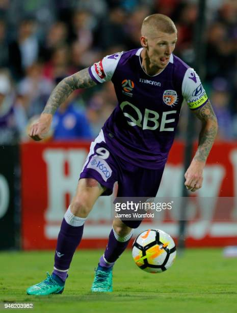 Andy Keogh of the Perth Glory looks for options inside the attacking square during the round 27 ALeague match between the Perth Glory and the...