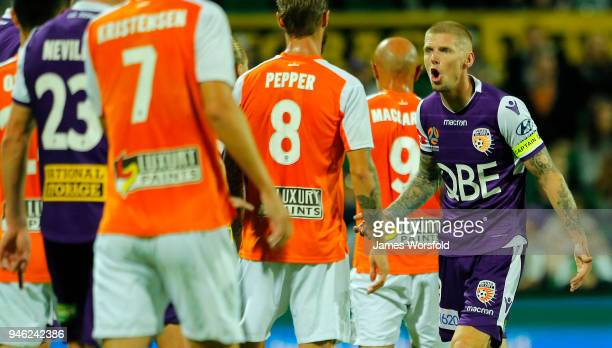 Andy Keogh of the Perth Glory tries to organise his players before a free kick during the round 27 ALeague match between the Perth Glory and the...