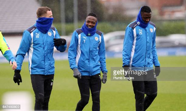 Andy King Ahmed Musa and Wilfred Ndidi during the Leicester City training session at Belvoir Drive Training Complex on March 03 2017 in Leicester...