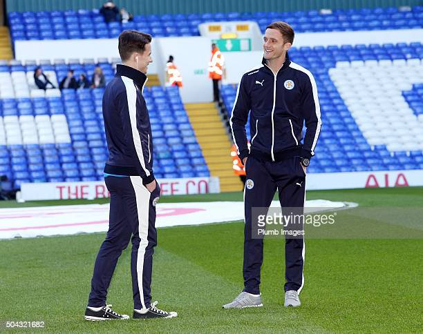 Andy King and Ben Chilwell of Leicester City ahead of the FA Cup third round match between Tottenham Hotspur and Leicester City at White Hart Lane on...