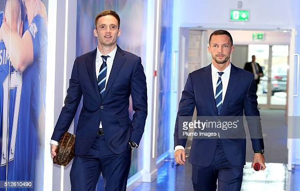 Andy King and Danny Drinkwater arrives at King Power Stadium ahead of the Barclays Premier League match between Leicester City and Norwich City at...