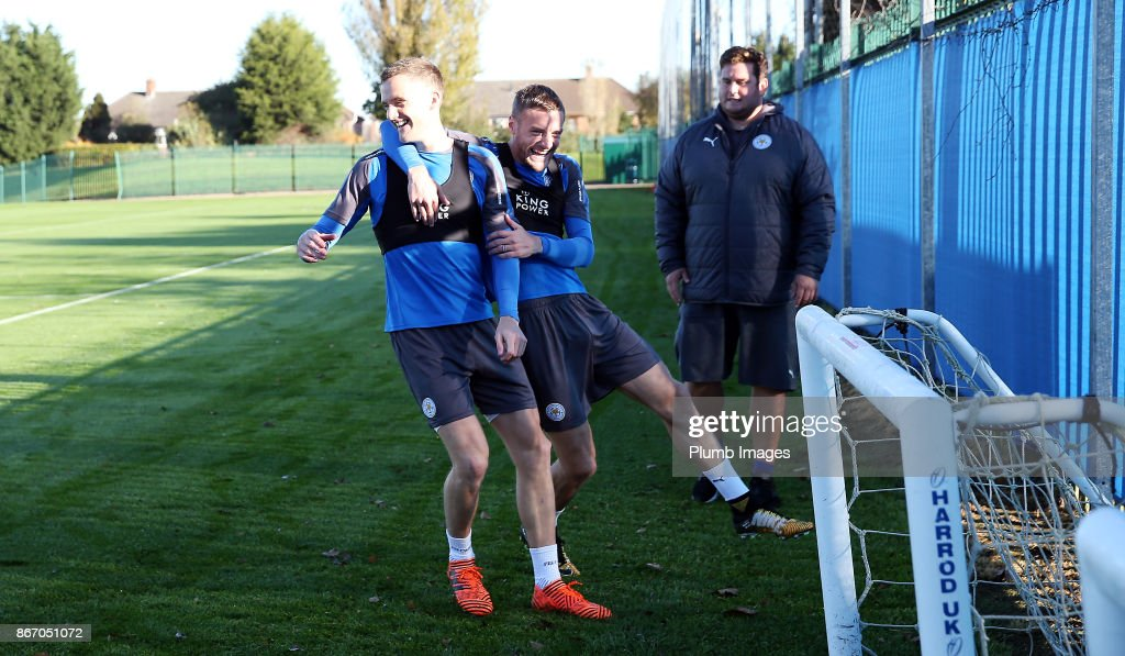 Andy King and Jamie Vardy during the Leicester City training session at Belvoir Drive Training Complex on October 27 , 2017 in Leicester, United Kingdom.