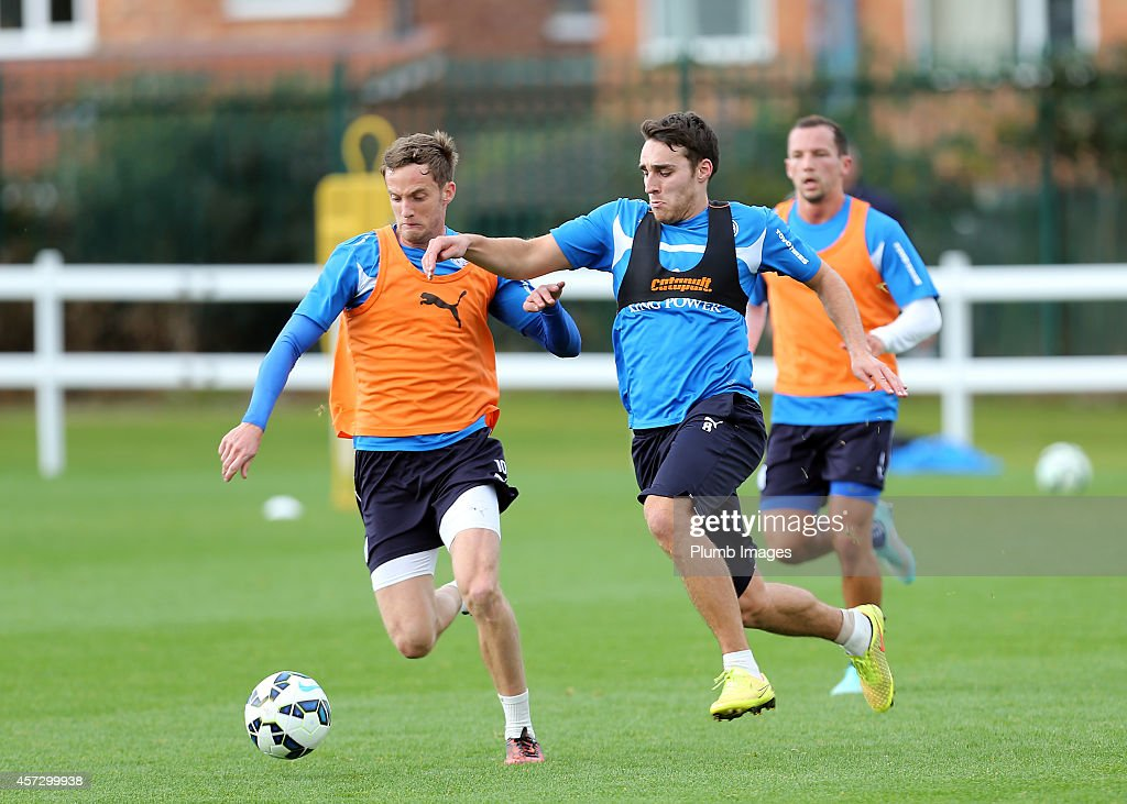 Andy King (left) and Matty James during the Leicester City training session at Belvoir Drive Training Ground on October 16, 2014 in Leicester, England.