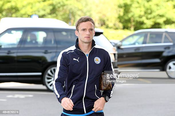 Andy King arrives during the Barclays Premier League match between Leicester City and Tottenham Hotspur at the King Power Stadium on August 22 2015...