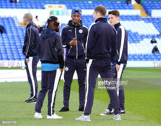 Andy King Ben Chilwell Nathan Dyer and Demarai Gray of Leicester City ahead of the FA Cup third round match between Tottenham Hotspur and Leicester...