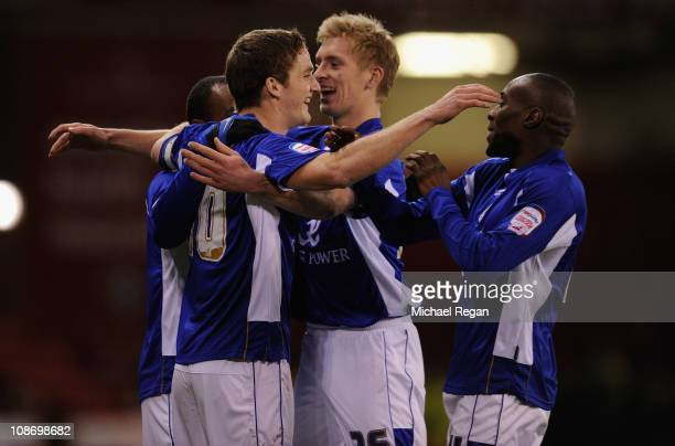 Andy King celebrates with team mates after scoring to make it 10 during the npower Championship match between Sheffield United and Leicester City at...