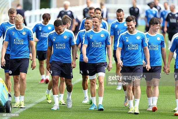 Andy King centre is all smiles as the squad return to training of during a Leicester City training session and press conference at the Belvoir Drive...