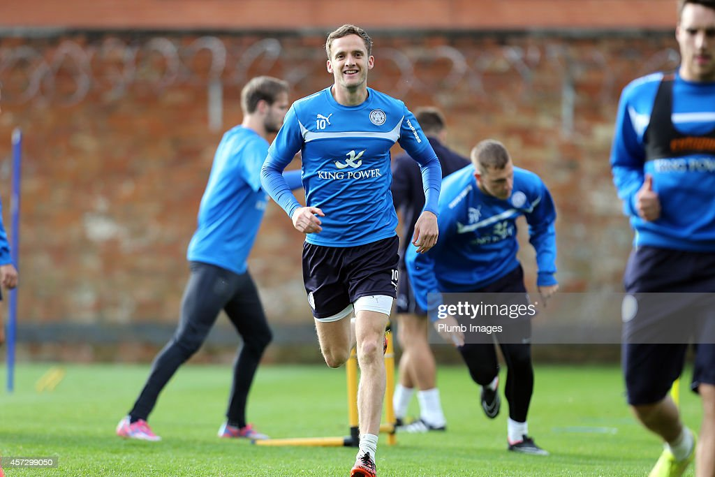 Andy King during the Leicester City training session at Belvoir Drive Training Ground on October 16, 2014 in Leicester, England.