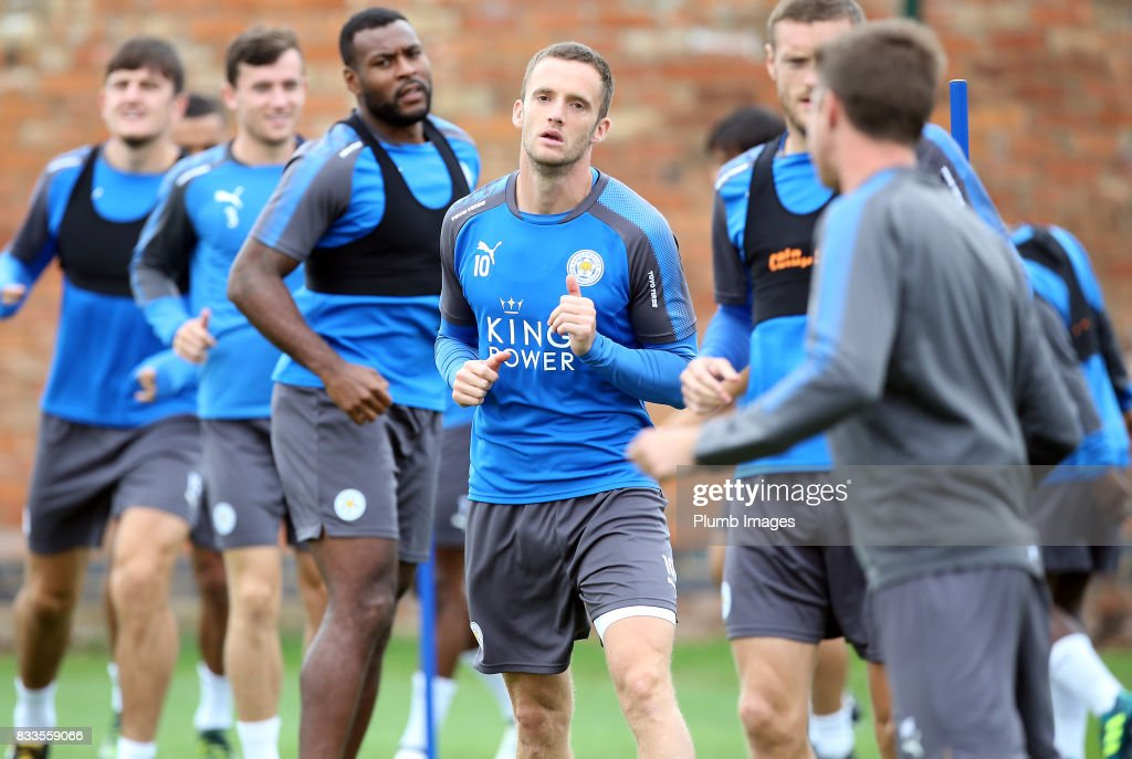 Andy King during the Leicester City training session at Belvoir Drive Training Complex on August 17 , 2017 in Leicester, United Kingdom.