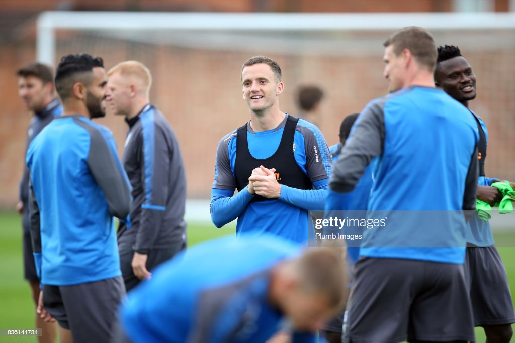 Andy King during the Leicester City training session at Belvoir Drive Training Complex on August 21 , 2017 in Leicester, United Kingdom.