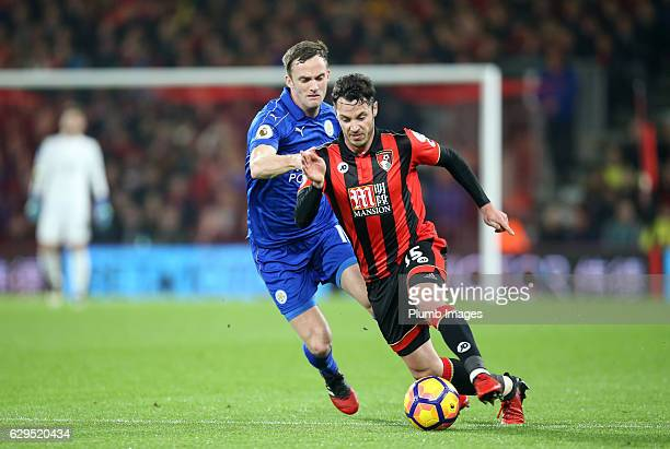 Andy King King of Leicester City in action with Adam Smith of Bournemouth during the Premier match between AFC Bournemouth and Leicester City at...