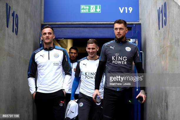 Andy King Marc Albrighton and Ben Hamer of Leicester City walk out into the stadium prior to the Premier League match between Leicester City and...