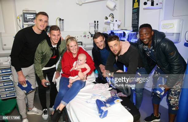 Andy King Marc Albrighton Jamie Vardy Ben Hamer and Ahmed Musa as the Leicester City players deliver Christmas presents to patients at Leicester...
