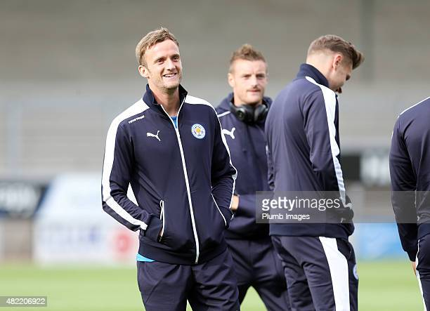 Andy King of Leicester City ahead of the pre-season friendly between Burton Albion and Leicester City at Pirelli Stadium on July 28, 2015 in...