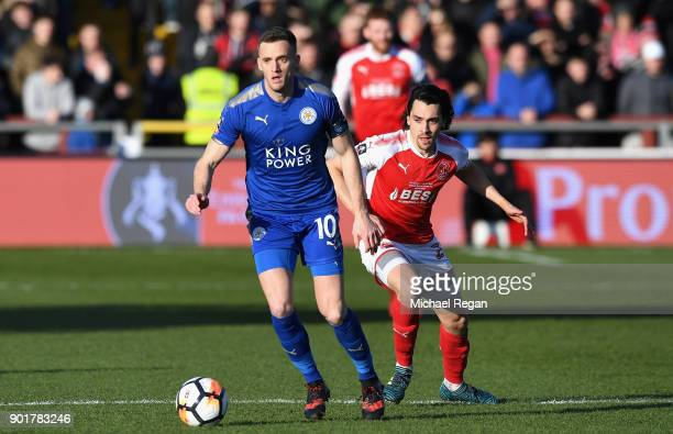 Andy King of Leicester City and Markus Schwabl of Fleetwood Town in action during the The Emirates FA Cup Third Round match between Fleetwood Town...
