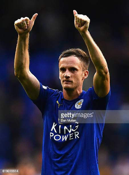 Andy King of Leicester City applauds away supporters after his team's 11 draw in the Premier League match between Tottenham Hotspur and Leicester...
