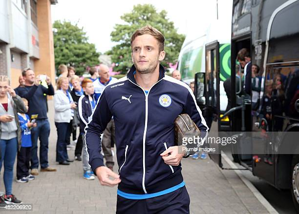 Andy King of Leicester City arrives at Pirelli Stadium ahead of the pre-season friendly between Burton Albion and Leicester City at Pirelli Stadium...