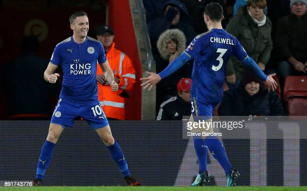 Andy King of Leicester City celebrates after scoring his sides third goal with Ben Chilwell of Leicester City during the Premier League match between...