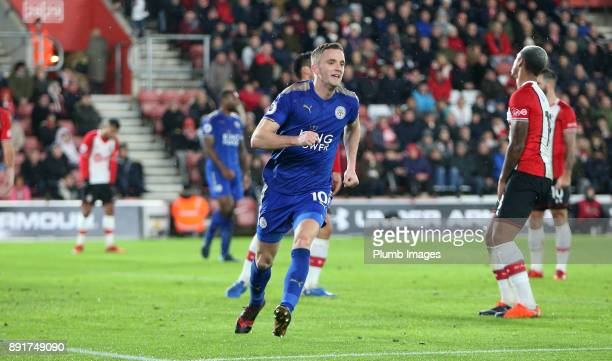 Andy King of Leicester City celebrates after scoring to make it 03 during the Premier League match between Southampton and Leicester City at St...