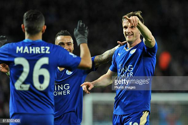 Andy King of Leicester city celebrates after scoring to make it 21 during the Barclays Premier League match between Leicester City and West Bromwich...
