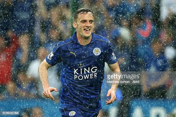 Andy King of Leicester City celebrates scoring a goal to make the score 20 during the Barclays Premier League match between Leicester City and...