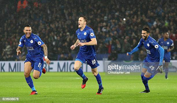 Andy King of Leicester City celebrates scoring his sides second goal during the Premier League match between Leicester City and Manchester City at...
