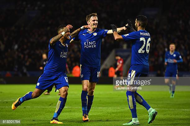 Andy King of Leicester City celebrates scoring his team's second goal with his team mates Danny Simpson and Riyad Mahrez during the Barclays Premier...