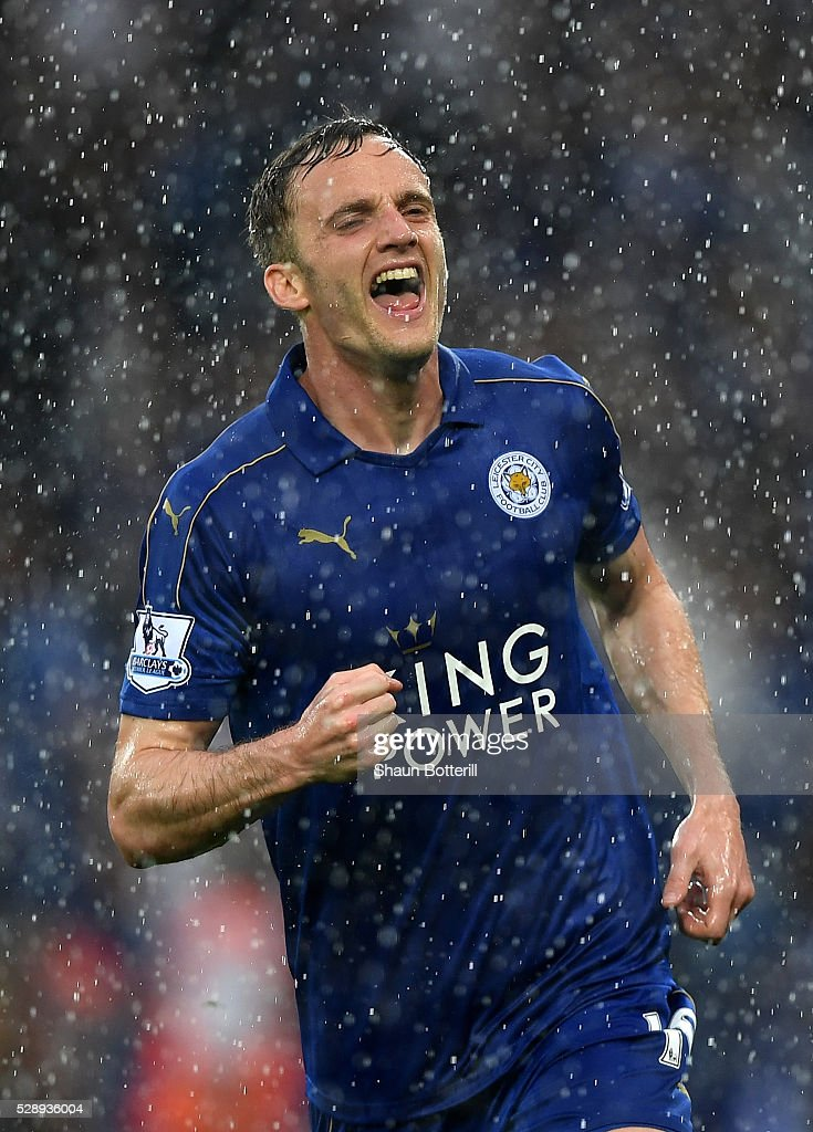 Andy King of Leicester City celebrates scoring his team's second goal during the Barclays Premier League match between Leicester City and Everton at The King Power Stadium on May 7, 2016 in Leicester, United Kingdom.