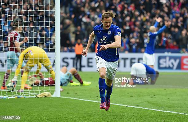 Andy King of Leicester City celebrates scoring their second goal during the Barclays Premier league match Leicester City and West Ham United at The...
