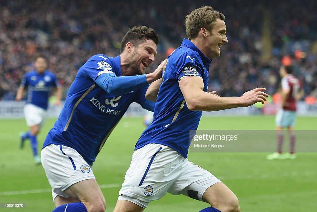 Andy King of Leicester City (L) celebrates scoring their second goal with David Nugent during the Barclays Premier league match Leicester City and West Ham United at The King Power Stadium on April 4, 2015 in Leicester, England.