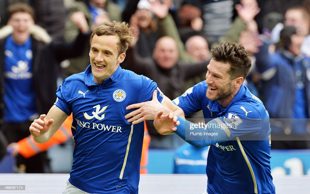 Andy King of Leicester City celebrates scoring to make it 2-1 with David Nugent of Leicester City during the Premier League match between Leicester City and West Ham United at The King Power Stadium on April 4, 2015 in Leicester, England.