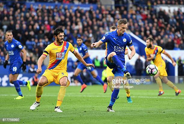 Andy King of Leicester City controls the ball during the Premier League match between Leicester City and Crystal Palace at The King Power Stadium on...