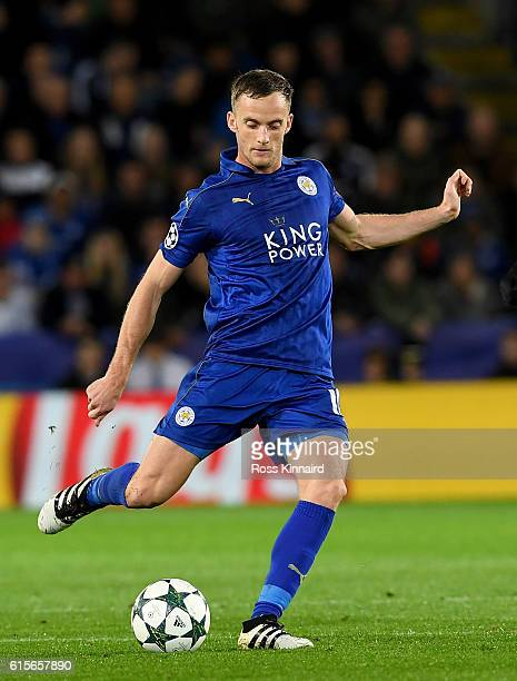 Andy King of Leicester City during the UEFA Champions League match between Leicester City FC and FC Copenhagen at The King Power Stadium on October...