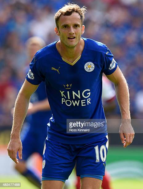 Andy King of Leicester City in action during the Barclays Premier League match between Leicester City and Sunderland at the King Power Stadium on...