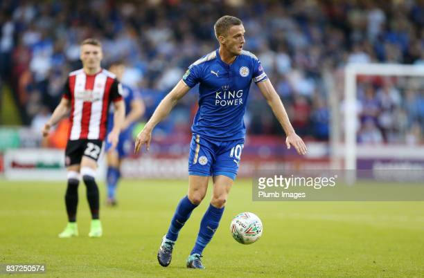 Andy King of Leicester City in action during the Carabao Cup Second Round tie between Sheffield United and Leicester City at Bramall Lane on August...