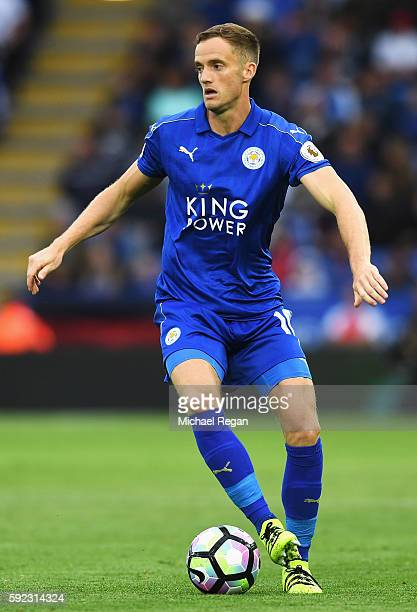 Andy King of Leicester City in action during the Premier League match between Leicester City and Arsenal at The King Power Stadium on August 20 2016...